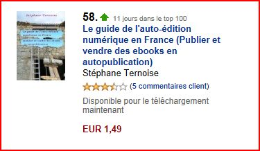 photo boutique Amazon Kindle France : onzième jour dans le top 100 pour le guide