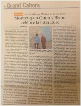 photo article la semaine dernière dans LA VIE QUERCYNOISE