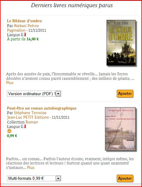 photo ebooks sortis le 11 novembre 2011