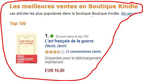 photo gallimard numero 1 des ventes sur kindle